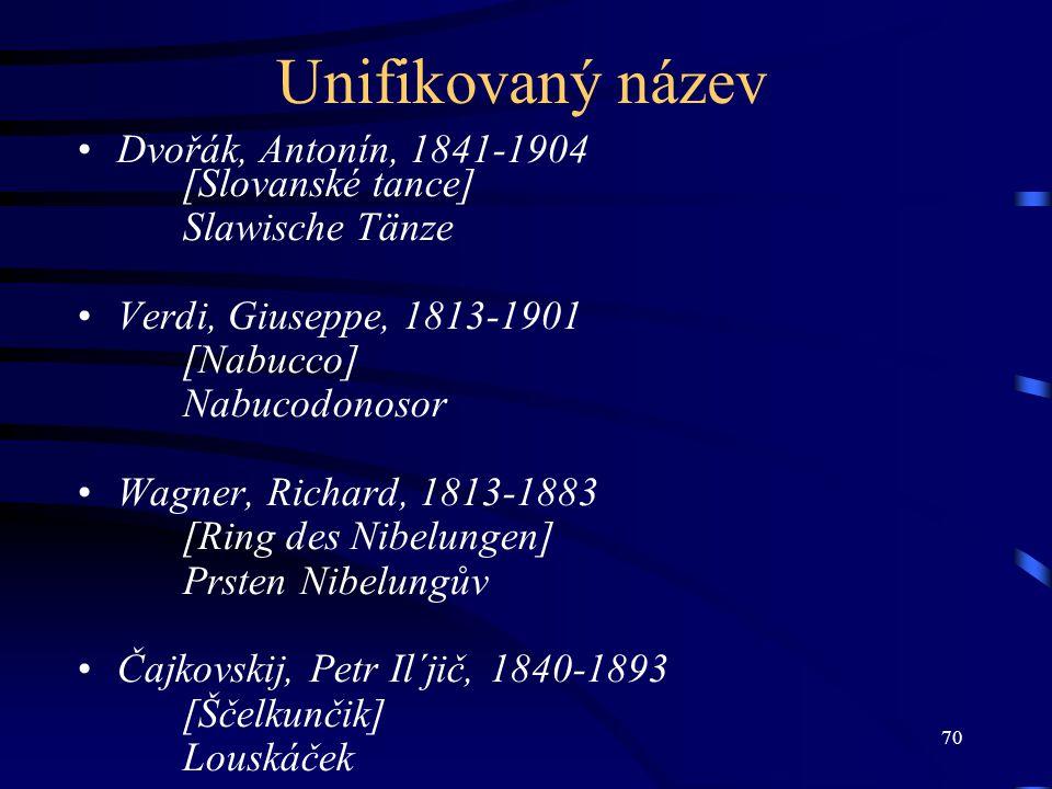 Unifikovaný název Dvořák, Antonín, 1841-1904 [Slovanské tance]